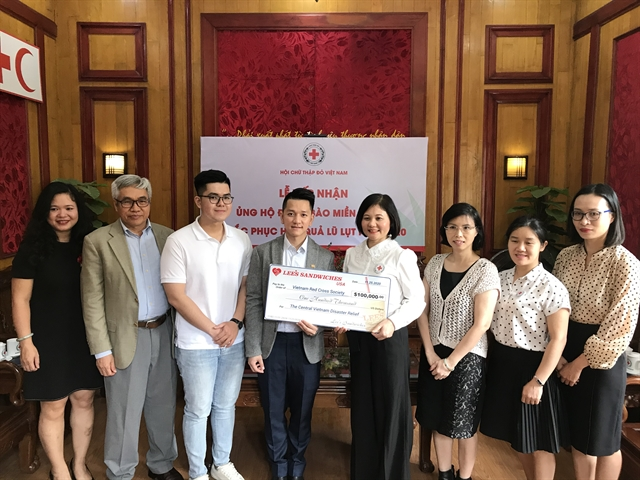 Lees Sandwiches donates 100000 to support disaster victims in central provinces