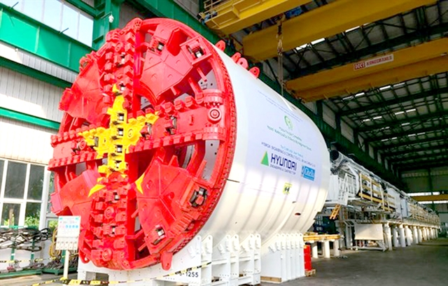 First tunnel boring machine for metro line construction installed