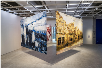 Exhibition displays art made from old cloth