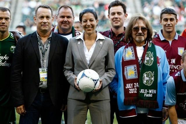 Villa fan Tom Hanks celebrates win four weeks before match