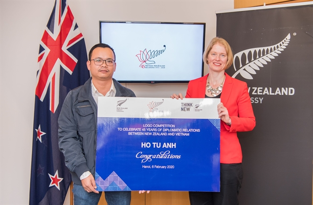 A logo of silver fern and lotus symbolise Việt Nam – New Zealands 45 years of partnership