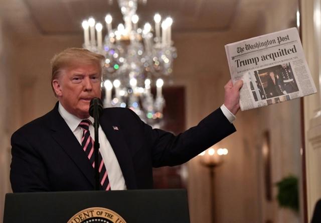 Trump takes impeachment victory lap over vicious Democrats