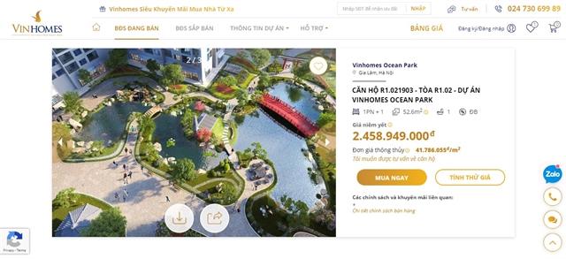 Vinhomes launches online real estate transaction floor