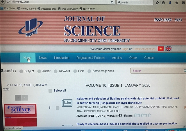 HCM City Open University launches Journal of Science website
