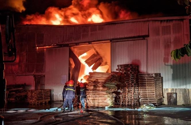 Fire ravages wooden furniture storehouse in Hải Phòng