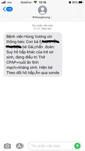 Hùng Vương Hospital sends parents messages about infant patients health