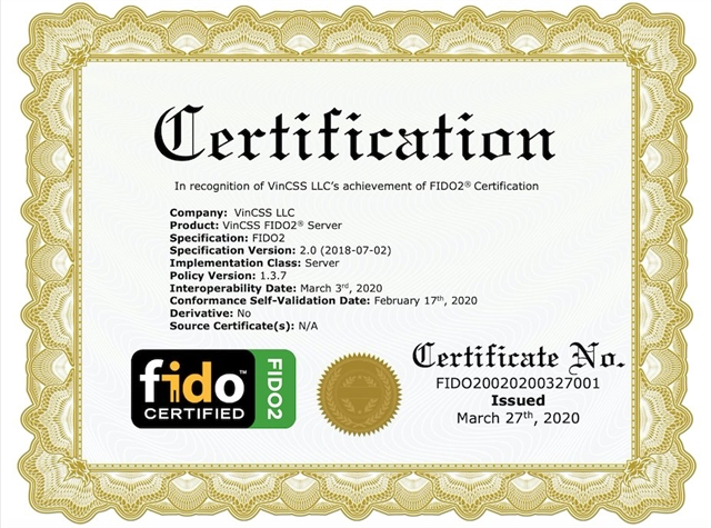 Vingroup meets FIDO2 standard for the second time