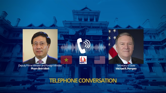 Foreign minister Phạm Bình Minh talks with US Secretary of State Mike Pompeo