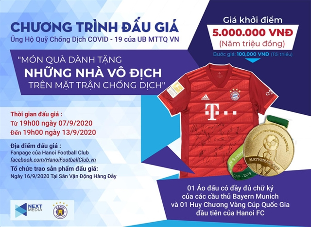 Next Media Hà Nội FC launch auction to support fight against COVID - 19 epidemic