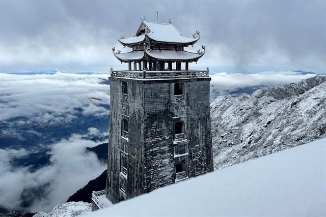Fansipan covered in blanket of snow