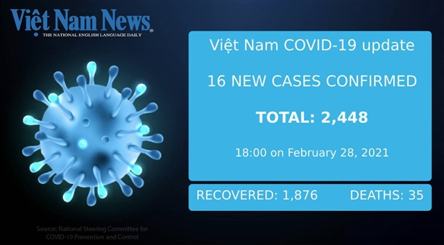 Việt Nam reports 16 new cases of COVID-19 on Sunday evening