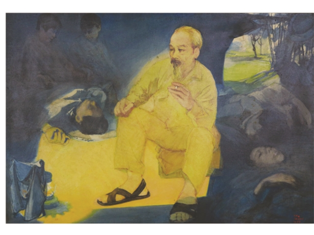 Imagesof Uncle Hồ and soldierson exhibit atNgõArtGallery