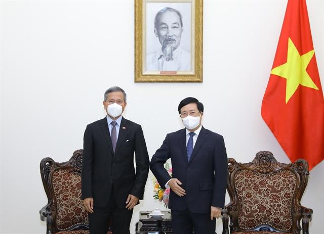 Deputy PM Phạm Bình Minh receives visiting Singaporean Foreign Minister