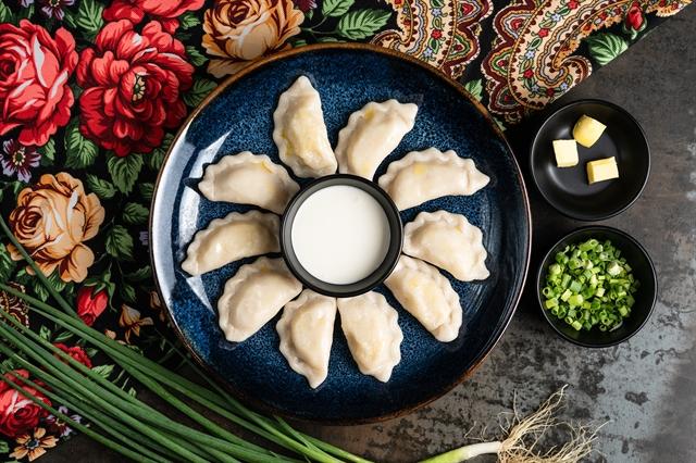 Vareniki: Slavic boiled potato  cheese dumplings