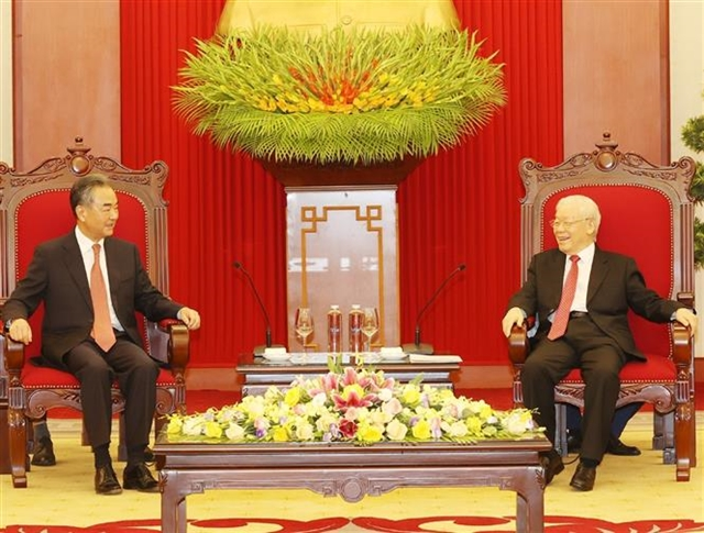 Party chief hosts reception for Chinese Foreign Minister