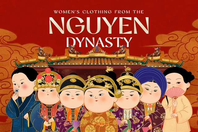 Womens clothing from the Nguyễn Dynasty revived in chibi-style paintings