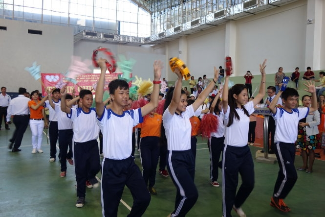 Students with disabilities participate in sports event