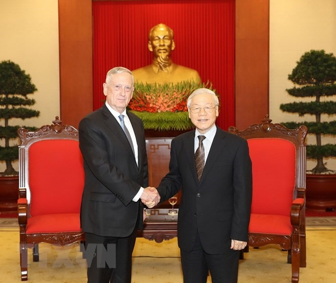 Party chief welcomes US Defence Secretary