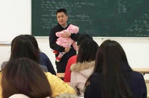 Prof babysits infant so mother can take exam