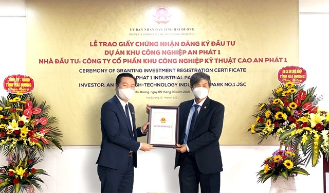 Investment certificate granted to An Phát High-tech Industrial Park No 1 JSC