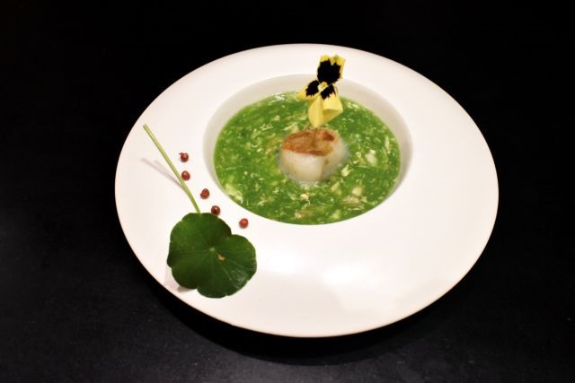 Crab spinach soup with conpoy