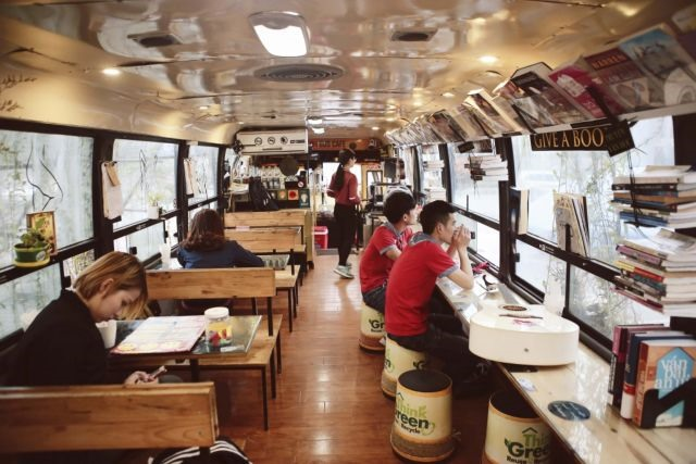 Old bus becomes a bustling cafe
