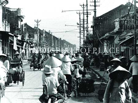 The city that was: A photo taken of Ha Noi's Old Quarter, where cyclos and bicycles were a popular means of transport.