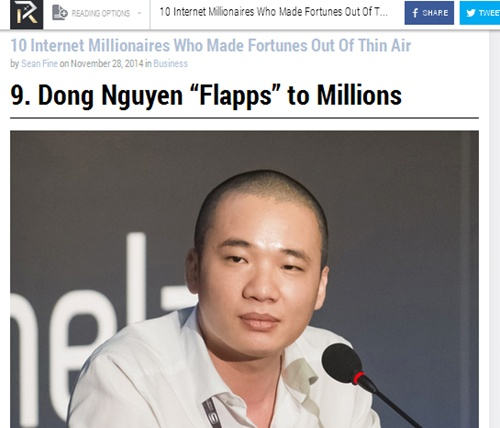 Flappy Bird creator on top Web millionaire list