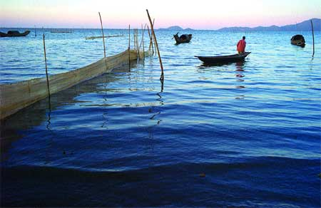 Night job: Villagers fishing at the lagoon leave on their boats in early evening and often do not return home until the early hours of the morning.