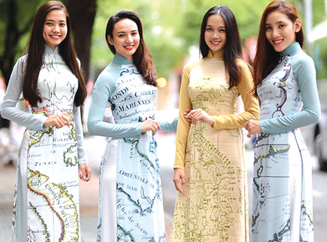 Ao Dai collection maps nations desire for peace