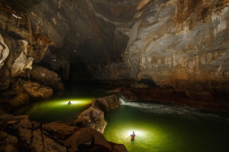 Enchanting underworld: The Tu Lan Jungle and Cave Exploration Tour allows travellers to climb and swim through massive underground caves.
