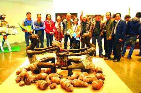 Rural tale: People contemplate Chuyen que (Village Story), which won three prizes.