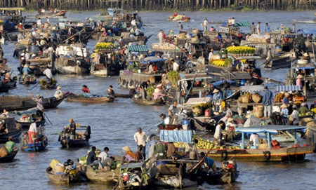 Boats afloat: Cai Rang floating market is Can Tho City's most visited attraction.