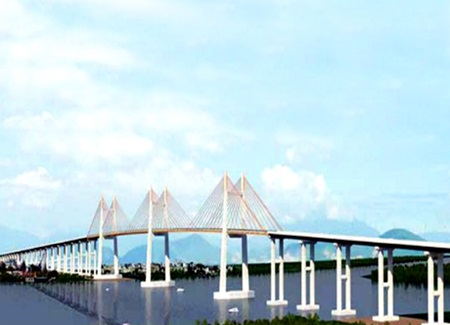 The bridge links the Ha Long-Hai Phong Highway to the Ha Noi-Hai Phong Highway.