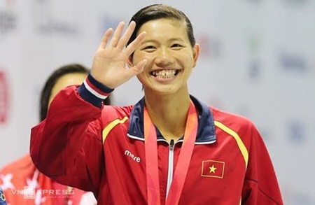 Swimmer Nguyen Thi Anh Vien has had her sixth Tet far from home.
